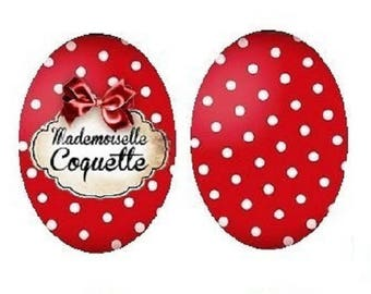 """18x25mm cabochons 2 ' mademoiselle coquette"" and polka dots"