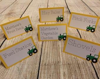 Tractor - John Deere Birthday Inspired Food Name Cards