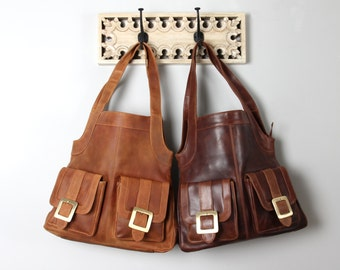 Large Leather Tote Purse with Pockets,  Vintage Brown and Vintage Tan