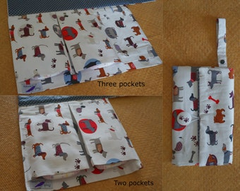 Animal Nappy Wallet with built in Change Mat- three or two pockets