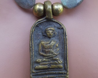 Labradorite and Prayer Beads with Brass Buddha Pendant