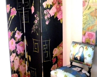 Black and pink roses chinoiserie painted screen