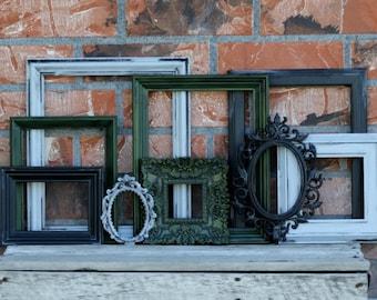 Set of 9 Open Frames - Moss Green, Black, Grey - Wall Gallery - Nursery - Wedding - Vintage Frames - Farmhouse - Boho Chic - Earth Tones