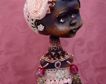 African doll OOAK - Dark skin art interior doll - Collectible beads jointed doll - Rosemary black skin baby girl