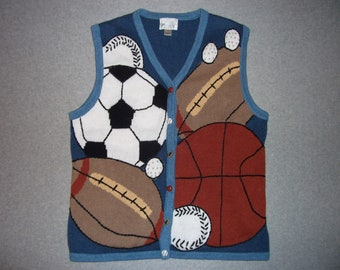 I've Got Big Balls Sweater Vest Soccer Football Baseball Tacky Gaudy Ugly Christmas Party X-Mas L Large