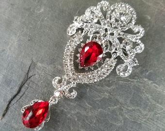 Red Rhinestone Flat Back Embellishment Ornate Swinging Drop Pin Clear Crystal Broach Dangling Wedding Brooch Bouquet Silver Red Brooch SRD1