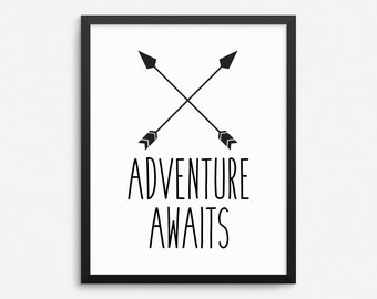 Adventure Awaits Print, Kids Room Decor, Kids Wall Art, Nursery Wall Decor, Kids Room Print