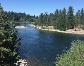 Wide shot of the Spokane River - Spokane, WA