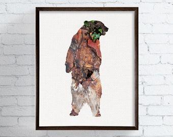 Bear Print, Bear Art, Bear Poster, Bear Wall Decor, Cabin Decor, Rustic, Country, Woodland Art, Woodland Nursery, Animal Prints, Wildlife