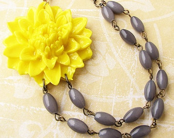 Yellow Necklace Statement Necklace Flower Necklace Grey Necklace Beaded Necklace Gift For Her