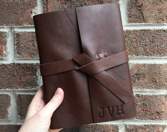 Large Leather Writing Journal, Lined Notebook Personalized with Monogram Initials, Graduation Gift for Writers, Handmade Diary for Writing