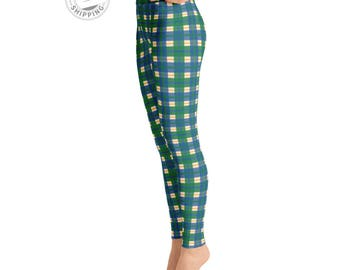 Blue & Green Plaid Leggings | Workout Leggings | Adult Leggings |  Fall Leggings | Roller Derby Leggings | Yogawear | Yogagear | Loopy Jayne