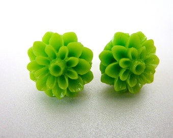 Fern Green EARRINGS flower earrings post studs chrysanthemum bright green