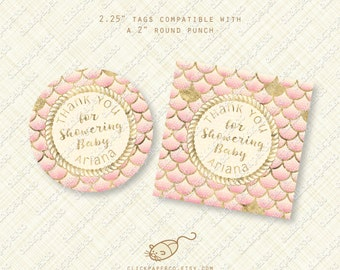 Custom Nautical Blush Pink Thank You Tags printable mermaid baby shower favor tag gold glitter fish scales rope digital download pdf
