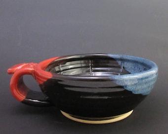 Stoneware Shaving Bowl, Red, Black and Blue