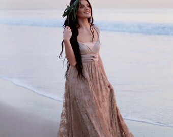 Trestles Champagne with Beige Lace Octopus Infinity Wrap Dress-  Wedding Gown, Bridesmaids, Maternity, Etc.