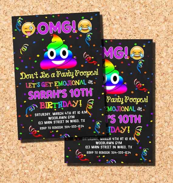 Emoji Invitations Emoji Birthday Invitations Poop Emoji