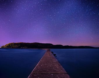 Starry Night Sky Lake Water Art Print Wall Decor Image Unstretched - Unframed Canvas