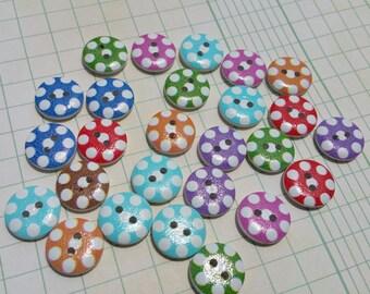 "Polka Dot Wood Buttons - Red Aqua Green Purple Orange Blue Polka Dots Wooden Button - 5/8"" Wide - 25 Buttons"