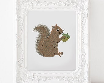Squirrel with Acorn • Giclee Art Print