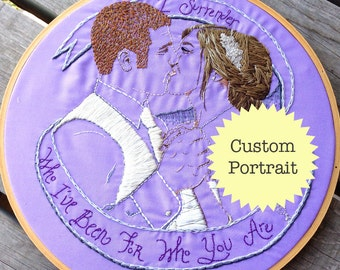 Custom Wedding Portrait Hand Embroidered; Embroidered Couple's Portrait; Custom Embroidered Engagement Portrait or Anniversary Portrait