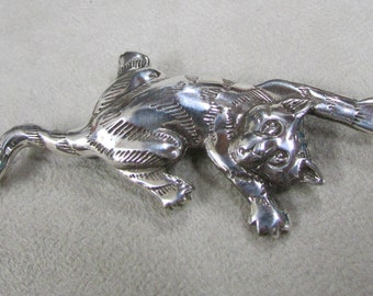 Whimsical Sterling Silver Cat Pin
