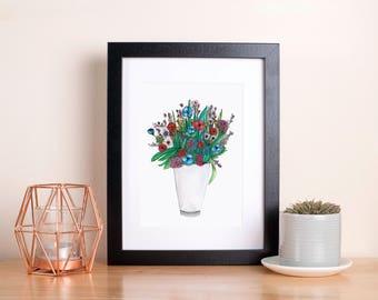 English Wildflowers illustration, Art print. Home Art. Floral wall art. Gardeners gift. Baby girl nursery art. Sunshine for Breakfast.