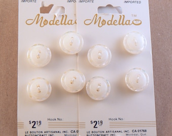 """8 - 9/16"""" Plastic White Buttons - White Buttons With Clear Confetti Glitter Rim - 14 mm Sewing Buttons - Button Card #WF-30-09"""