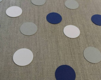 Hand punched 1 inch circle confetti- navy, white, and gray table scatter/party decor/birthday/shower/wedding