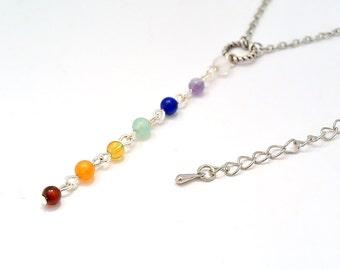 7 Chakra necklace,  Gemstone necklace, balancing necklace, Chain necklace, heal stone jewelry, Yoga necklace, Seven gemstone, Gift for her