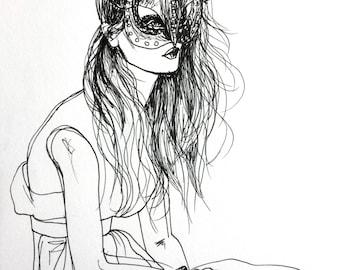 Kitty Mask Original Art Fashion Illustration Sketch Mini Wall Art