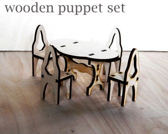 Wooden furniture doll hause dining set Wooden Table and chairs for doll house Unfinished wooden furniture for doll Childrens girl toys