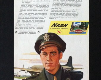 Vintage Post WW2 Nash Military Themed Car Ad
