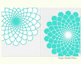 Turquoise Wall Art Flower Bursts Decor Chevron Bedroom Wall Art Nursery Art Prints 240(a)