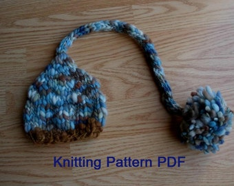 Long Tail Baby Hat Knitting Pattern, PDF Number 302, INSTANT DOWNLOAD -- for Thick Thin Yarn -- Over 45,000 patterns sold