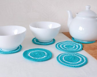 Crochet coasters kitchen Turquoise home decor Coasters kitchen decor Drink coasters Lace coasters Kitchen gift Christmas gift for women gift