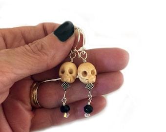 Skull Earrings Handmade Goth One of a Kind Gift