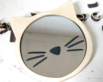 Cat Pocket Mirror - Fun Shaped Mirror With Whiskers - Playful Girl - Kids First Mirror - Stocking Filler - Cats Whiskers - Unique Gift