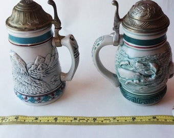 Avon Whale and Eagle Endangered Species Steins From 1990 and 1992