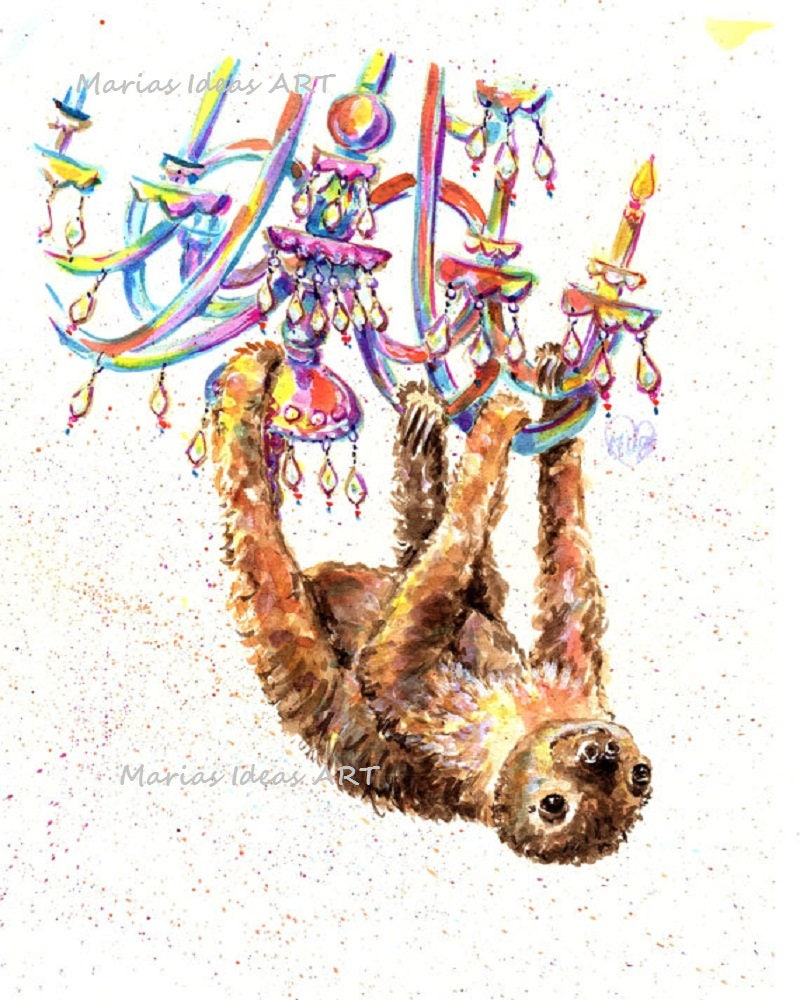 Sloth two toed sloth print chandelier party animal two zoom arubaitofo Choice Image