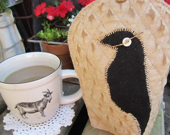 CROW~ COFFEE CuP COVER~ Made-To-Order~ Hygge~ Coffee Cozie~ Primitive Decor~ Mason Jar Cover~ Tea Lover~ Tea Cozy-Cosy-Cozie~ Coffee Gift~