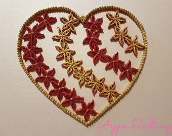 Large Quilled Heart Christmas Tree Ornament