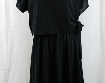 Vintage 1970s Lady Carol of New York Black Batwing Sleeve Bow Dress