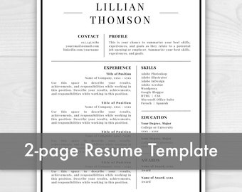2 Page Professional Resume Template for Word & Pages | CV Template | Resume Template | Instant Download Resume Template / CV Template