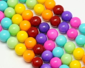 Rainbow Glass Beads - Multicolor - 10mm - Sold per strand - #RB134