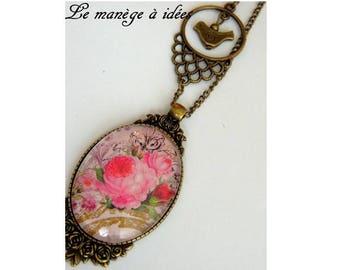 Pendant, bronze, cabochon, name of the Rose, romantic retro necklace.