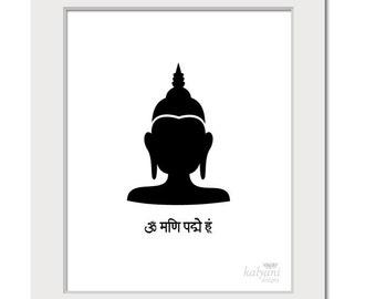 ART PRINT Buddha - inspirational art print, Buddhist poster, Indian art print, black and white poster, spiritual art, printable art