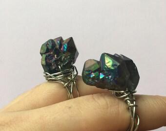 Crystal Wire Wrap Rings - Rainbow Aura Quartz, Crystal Points, Raw, Silver, Gold