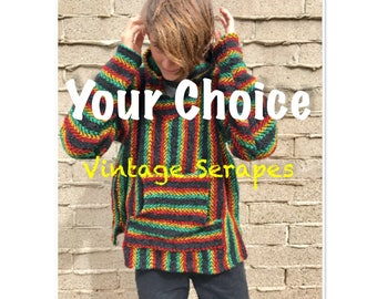 Baja Hoodie, Serape, Mexican Blanket Sweaters, Beach Hoodies, Stripped Pancho, Drug Rug