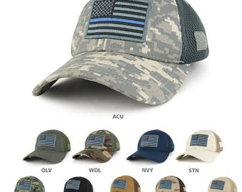 US American Flag Thin Blue Line Embroidered Patch Low Crown Adjustable Tactical Mesh Cap (T91-USA-TBL-T80)